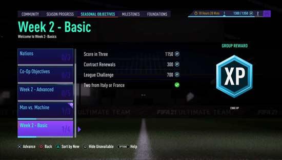 FIFA 21 Seasons Objectives