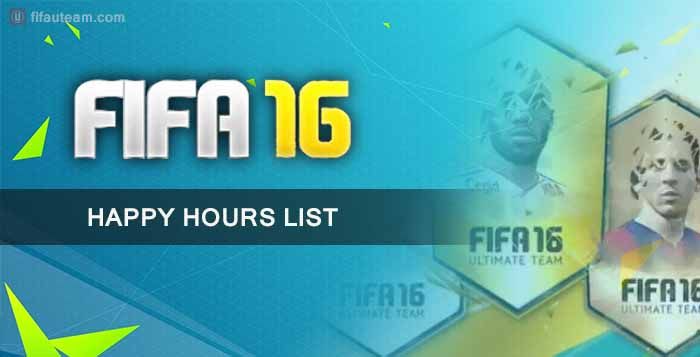 FIFA 16 Ultimate Team Happy Hours List