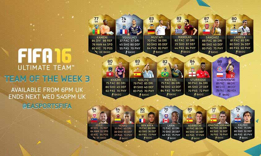 Equipa da Semana 3 - Todas as TOTW de FIFA 16 Ultimate Team