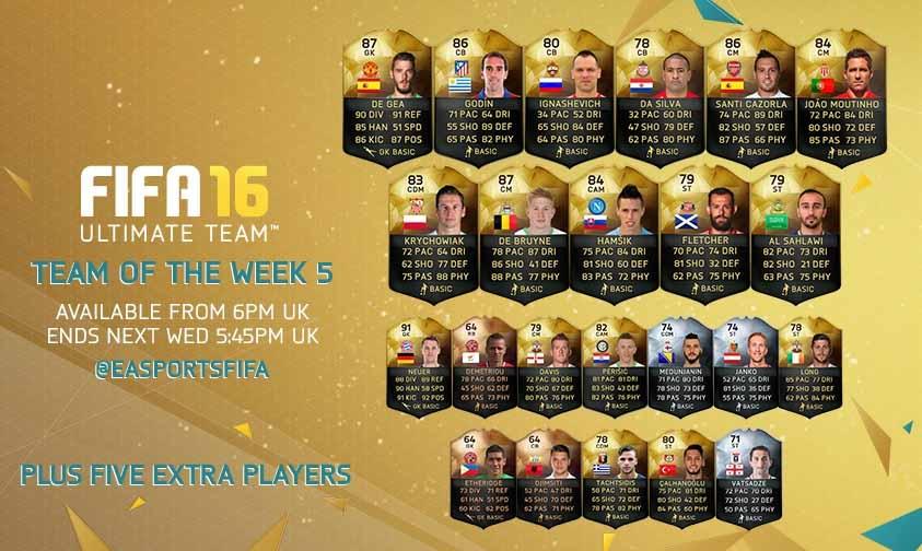 Equipa da Semana 5 - Todas as TOTW de FIFA 16 Ultimate Team