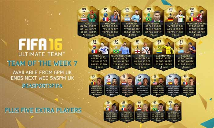 Equipa da Semana 7 - Todas as TOTW de FIFA 16 Ultimate Team