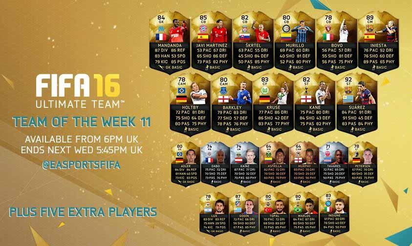 Equipa da Semana 11 - Todas as TOTW de FIFA 16 Ultimate Team