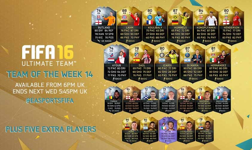 Equipa da Semana 14 - Todas as TOTW de FIFA 16 Ultimate Team