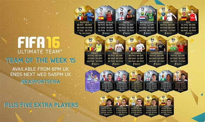 Equipa da Semana 15 - Todas as TOTW de FIFA 16 Ultimate Team
