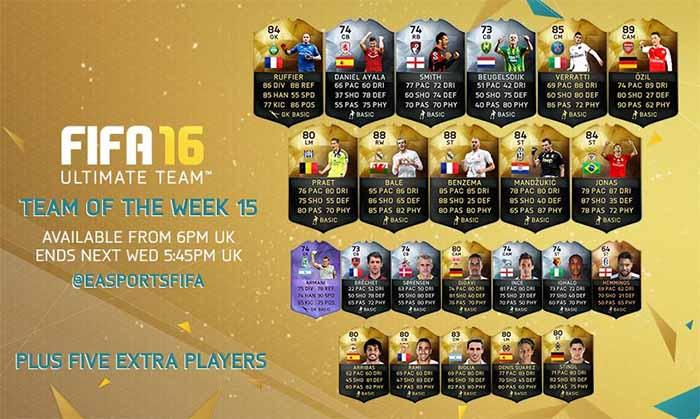 Equipa da Semana 15 - Todas as TOTW de FIFA 16 Ultimate Team