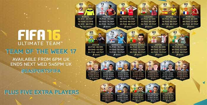 Equipa da Semana 17 - Todas as TOTW de FIFA 16 Ultimate Team