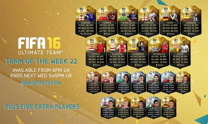 Equipa da Semana 22 - Todas as TOTW de FIFA 16 Ultimate Team