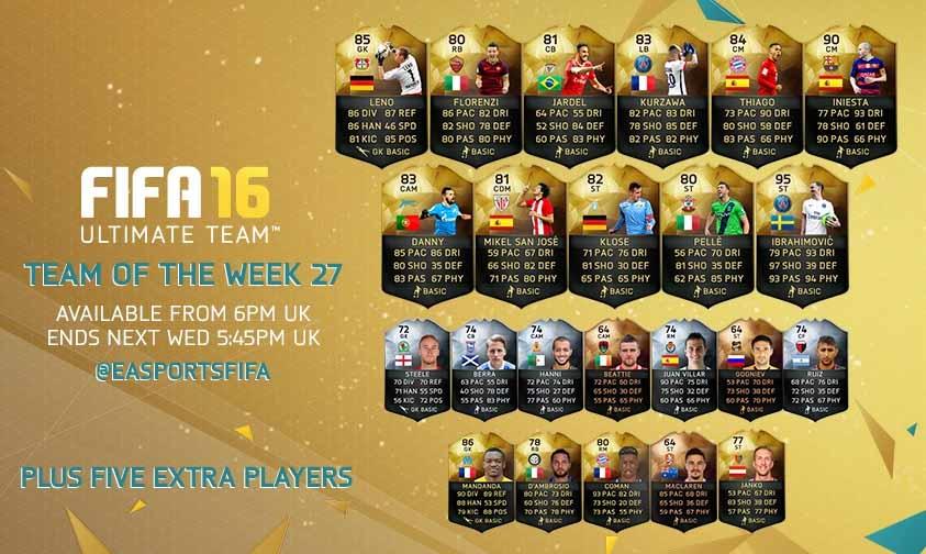Equipa da Semana 27 - Todas as TOTW de FIFA 16 Ultimate Team