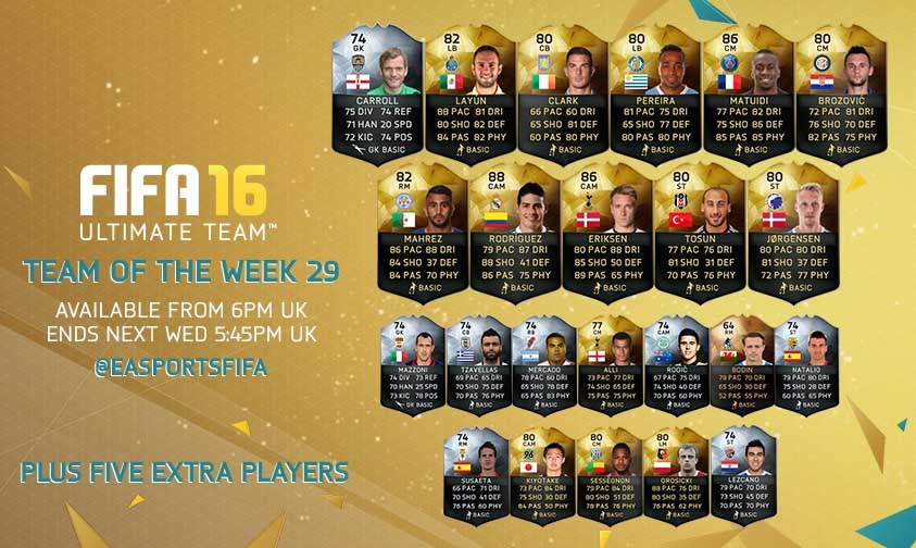 Equipa da Semana 29 - Todas as TOTW de FIFA 16 Ultimate Team