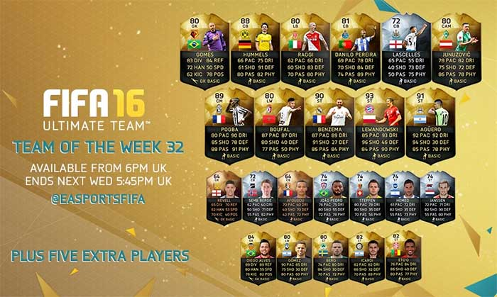 Equipa da Semana 32 - Todas as TOTW de FIFA 16 Ultimate Team