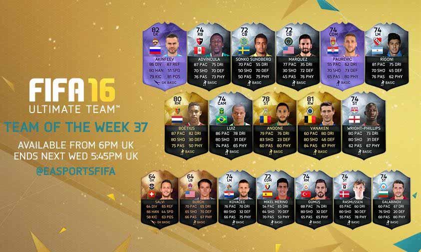 Equipa da Semana 37 - Todas as TOTW de FIFA 16 Ultimate Team