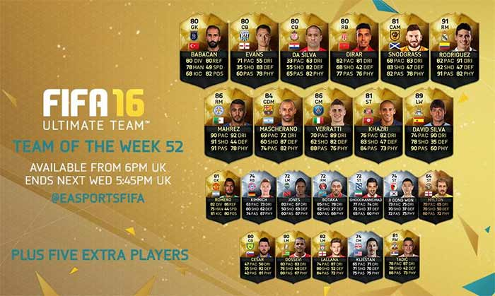 Equipa da Semana 52 - Todas as TOTW de FIFA 16 Ultimate Team