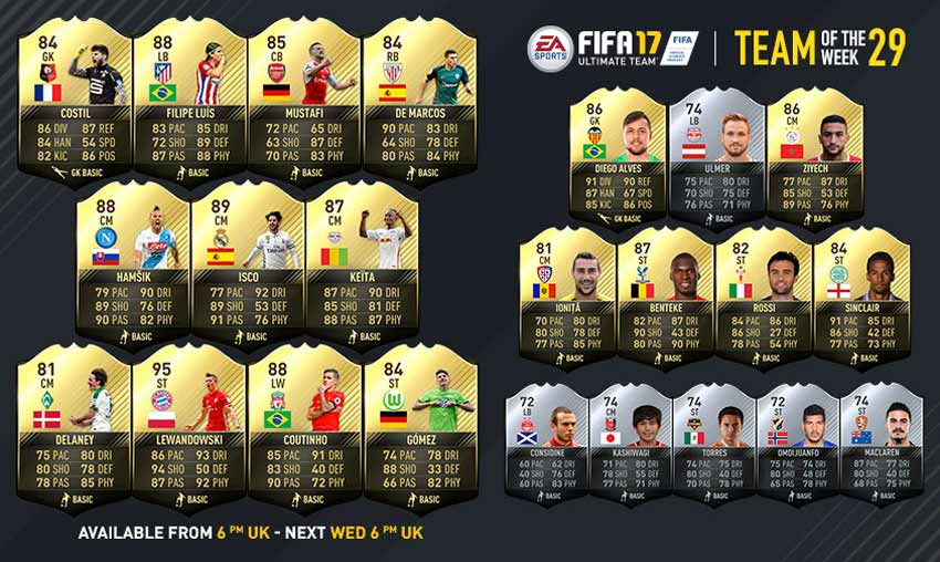 Equipa da Semana 29 - Todas as TOTW de FIFA 17 Ultimate Team