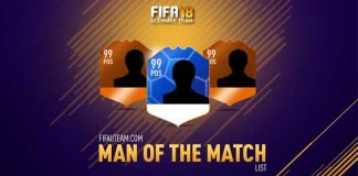 FIFA 18 Man of the Match Cards List